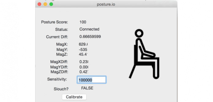 Posture.io, a low cost hardware hack that prevents you from slouching at the office desk.