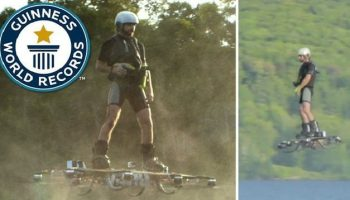 Canadian man invents Hoverboard and sets a new Guinness world record for the flight