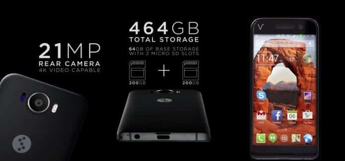 V SQUARED Android smartphone to come with massive 64GB internal storage and 400GB expanded memory