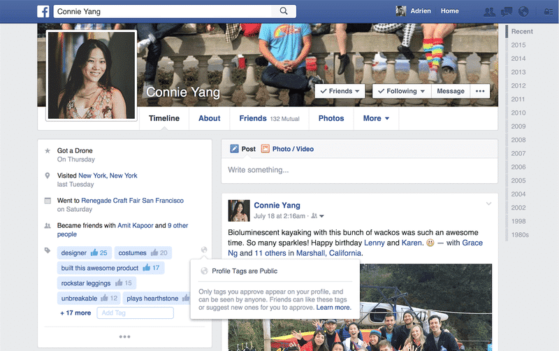 Facebook testing 'profile tags' to allow FB users to tag profiles just like LinkedIn