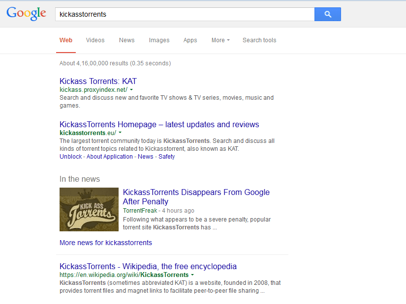 Google removes Kickass Torrents from its search page