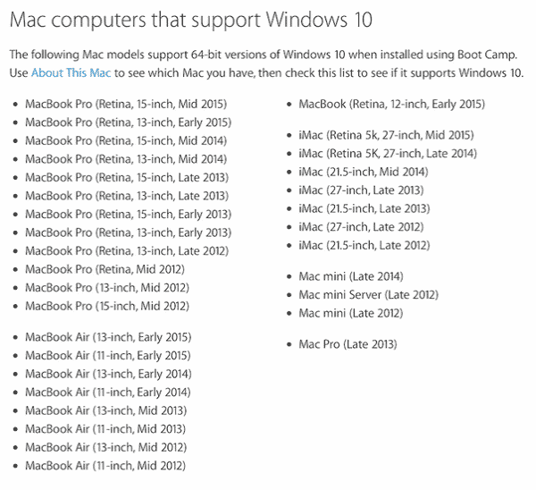 Macs that support Win 10
