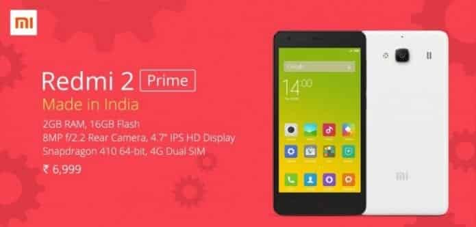 Xiaomi's first make-in-India phone 'Redmi 2 Prime' launched for Rs. 6,999