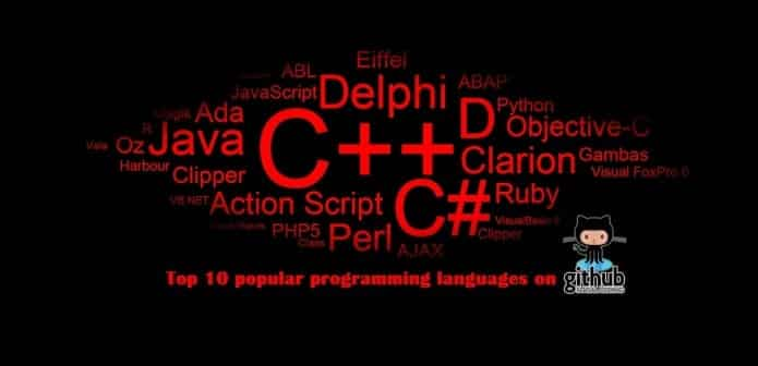 Top 10 popular programming languages used on GitHub