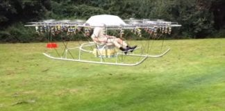 Man builds an awesome helicopter from 54 drones and garden chair