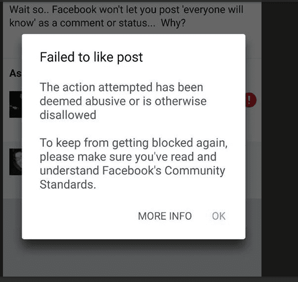 Facebook doesnt let you post 'Everyone Will Know' in comments