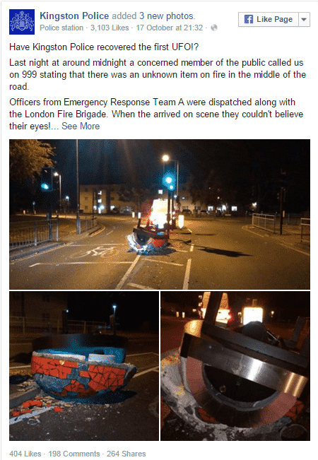Mystery UFO that crashed on London roads turns out to be a pizza oven