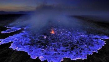 Kawah Ijen, an Indonesian Volcano Erupts Electrifying Blue Lava