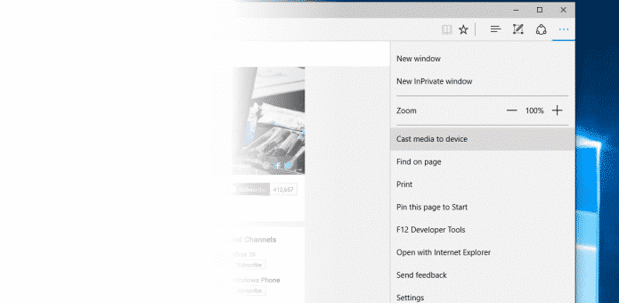Microsoft's Edge browser in latest Windows 10 version, can beam videos to your TV