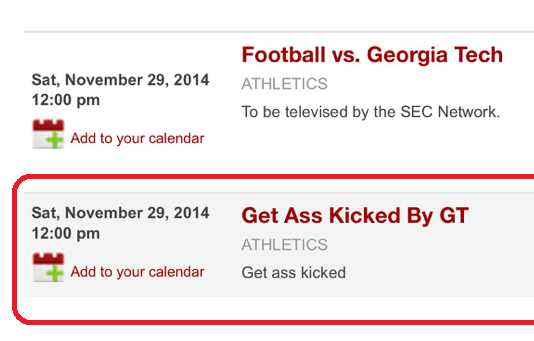 "Hacker reveals why he hacked UGA calendar and wrote ""Get Ass Kicked by GT"""