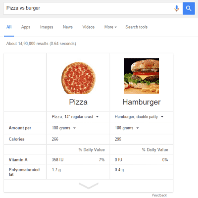 "Compare foods using ""vs."""