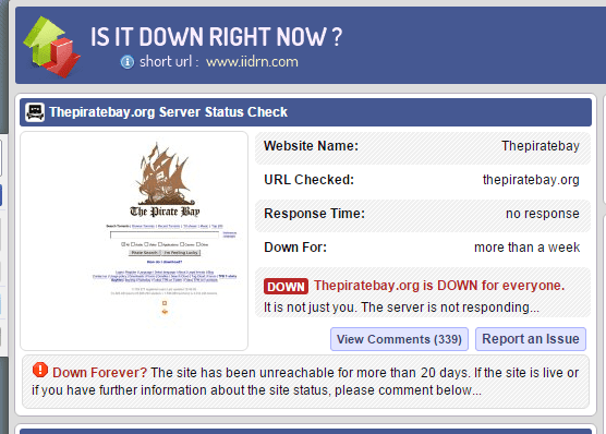 All domains of The Pirate Bay are down at it suffers a worldwide outage