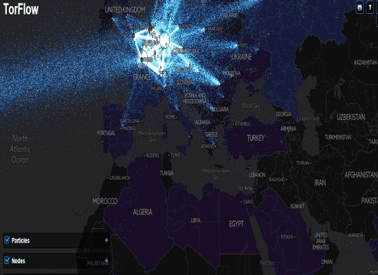 This is how the world Tor Relay Nodes look in real time