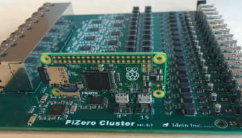 This is what a cluster board with 16 Raspberry Pi Zero's looks like