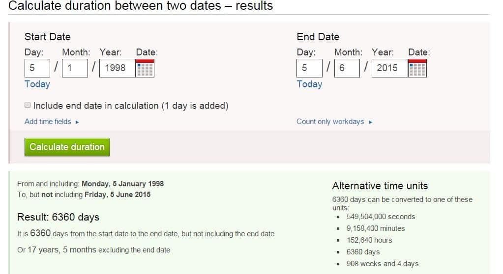 Date to Date Calculator