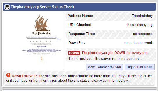 The Pirate Bay offline again, all domains suffer a massive outage for fifth time in 2016