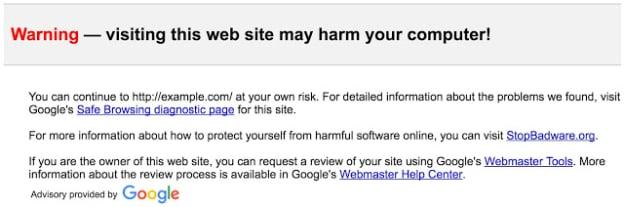 gmail phishing warning