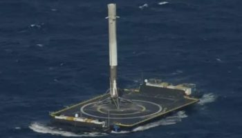 SpaceX Rocket makes historic rocket landing on robot ship in middle of the ocean