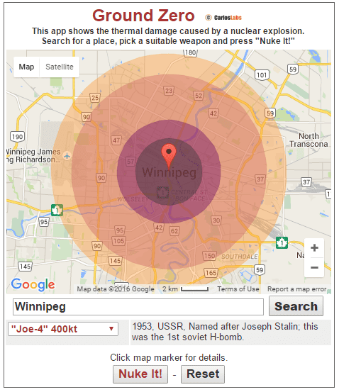 This website shows you how devastating a atomic/nuclear/asteroid strike will be at the place you live