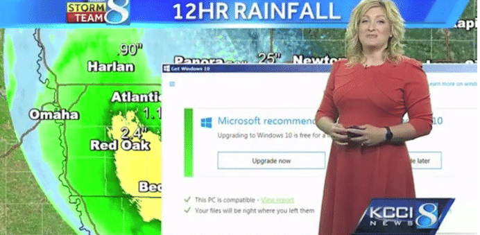 Live TV Broadcast interrupted by Microsoft Windows 10