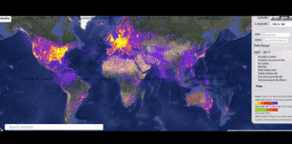 Find where Wi-Fi is located around the world with this world Wi-Fi map