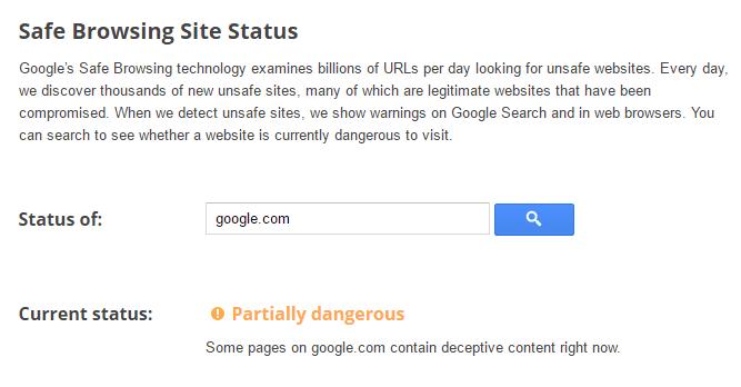 Google.com is dangerous website warns Google safe browsing