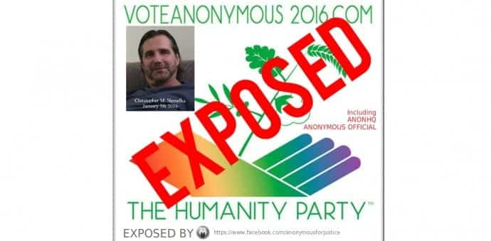 Anonymous say The Humanity Party is fake and using their name for votes