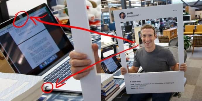 Mark Zuckerberg covers his MacBook's camera and audio jack with pieces of tape