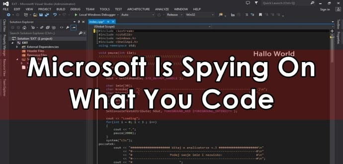 Microsoft secretly adds snooping codes into C++ Binaries Visual Studio 2015