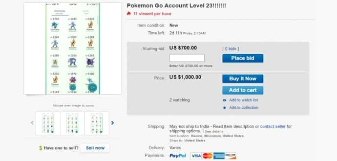 Pokemon Go players selling their accounts for more than $100 to $1000 on eBay