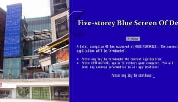 Giant 5 Storey Blue Screen of Death (BSoD) Building found in Thailand