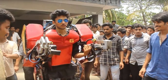 Indian engineering student builds a real-life walking Iron Man suit for just $750