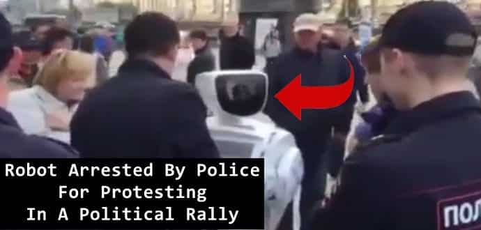 Protesting robot Arrested By Police At A Political Rally In Moscow