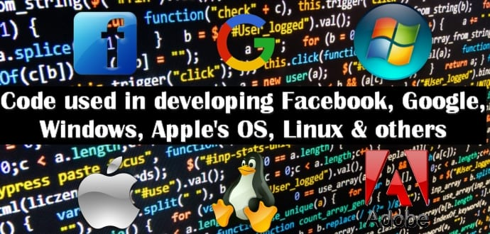 programming language code used to develop facebook google