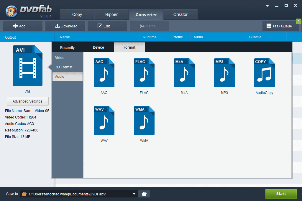 Convert a video file into audios of popular formats