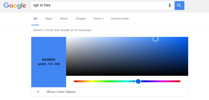 You can now convert RGB to HEX and vice versa with Google search