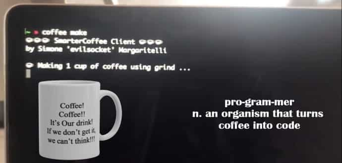 This hacker brews his coffee directly from his PC with command line