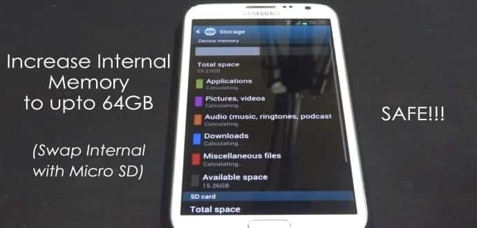 How to swap internal storage with the SD card in Android smartphone
