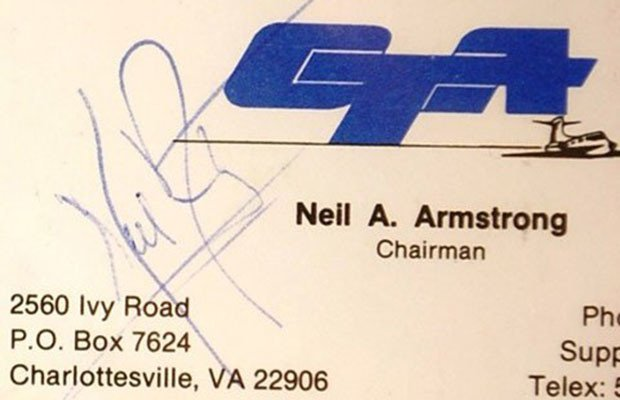 neil armstrong's business card