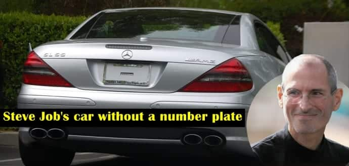 Apple founder Steve Jobs drove a Mercedes without Number Plate yet he was never caught