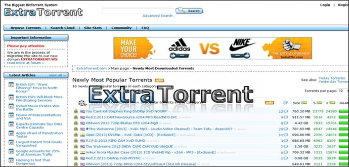 Best torrent sites similar to The Pirate Bay for free movie download