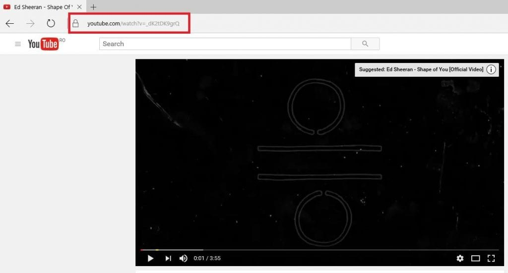 Copy the video's URL from the address bar of your Internet browser