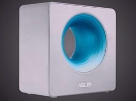 """This """"Bladeless Fan"""" From Asus Is Actually A Wi-Fi AC Router With Blue Hole On It"""