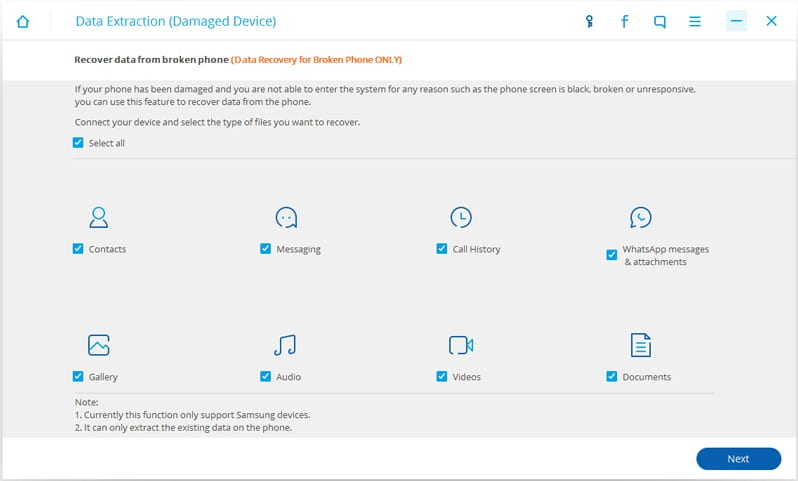 """Now, from the window, choose """"Messaging"""" only to recover the messages from your damaged Android smartphone."""