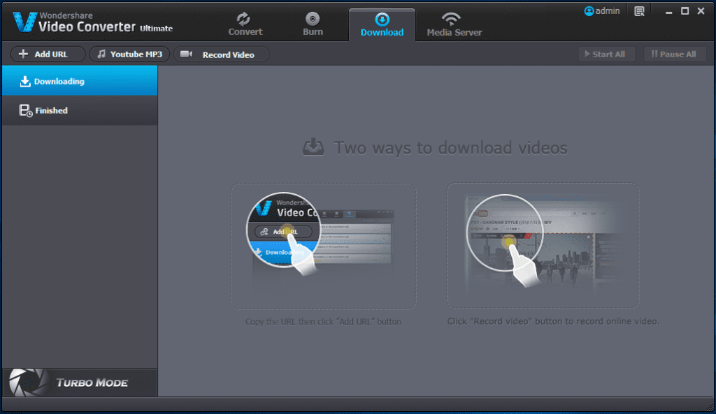 Using Wondershare Video Converter Ultimate to download or record online videos from YouTube, Vimeo or any other video website.