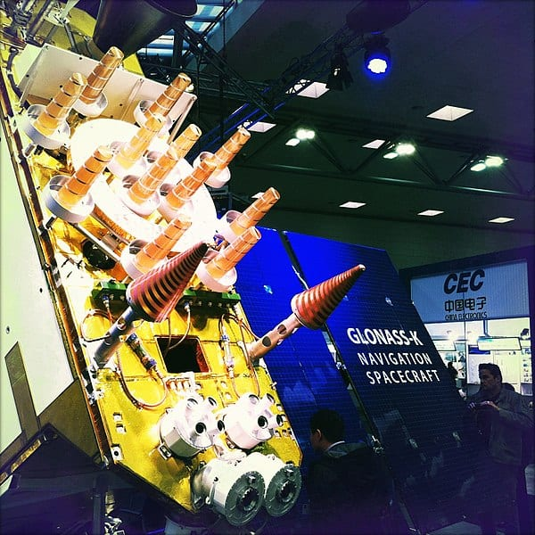 A model of a GLONASS-K satellite displayed at CeBit 2011
