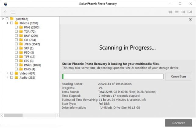 Recover any lost/deleted photo/music/video or file with Stellar Photo Recovery tool
