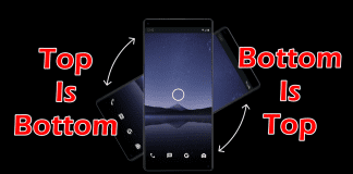 Gravity Phone can be used in either orientation; top is bottom and bottom is top