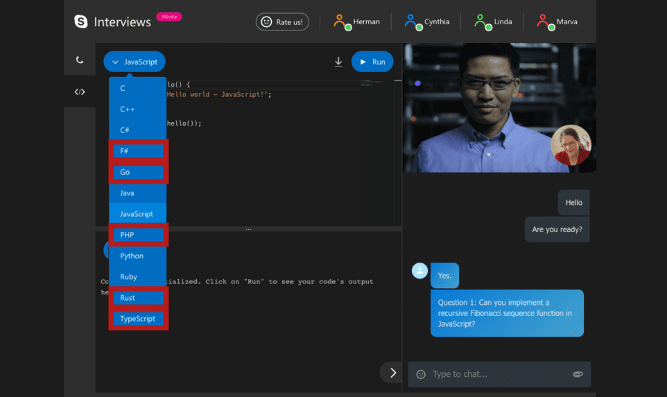 Skype Interviews adds code snapshots, new programming languages and group video calling