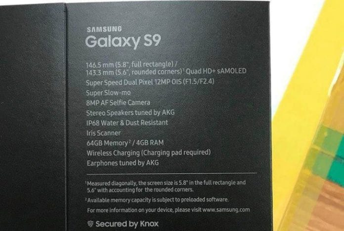 Leaked retail box of Samsung Galaxy S9 reveals specifications